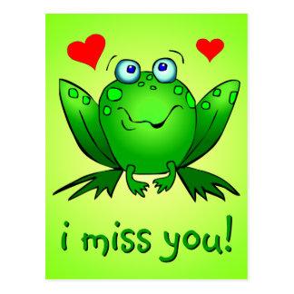 Carte Postale Tu me manque coeurs mignons de grenouille verte