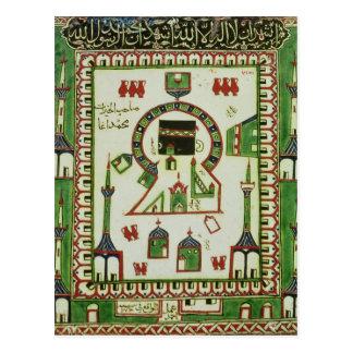 Carte Postale Tuile avec une représentation de Mecque