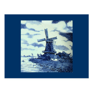 Carte Postale Tuile bleue antique vintage de Delft - moulin à