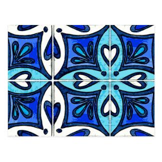 Carte Postale Tuiles de coeur inspirées par le bleu d'Azulejos