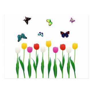 Carte Postale Tulipes et papillons