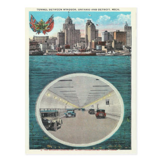 Carte Postale Tunnel vintage Windsor Ontario Detroit Michigan