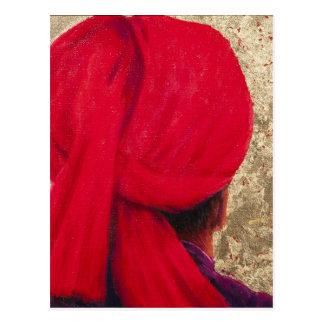 Carte Postale Turban rouge sur la feuille d'or 2014