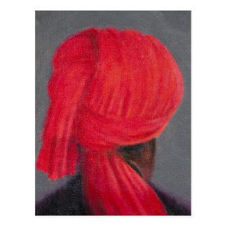 Carte Postale Turban rouge sur le gris 2014
