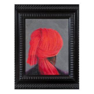 Carte Postale Turban rouge sur le gris 2014 (encadré)