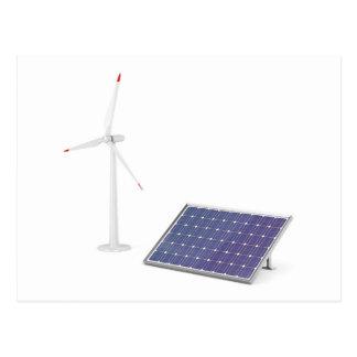 Carte Postale Turbine de vent et panneau solaire