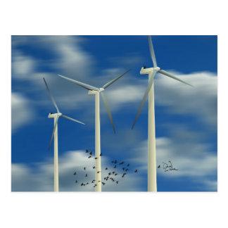 Carte Postale Turbine de vent verte d'énergie