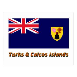 Carte Postale Turcs et drapeau d'îles de la Caïques avec le nom