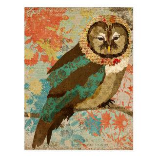 Carte postale turquoise de hibou