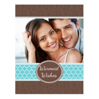 Carte postale turquoise de vacances de Quatrefoil