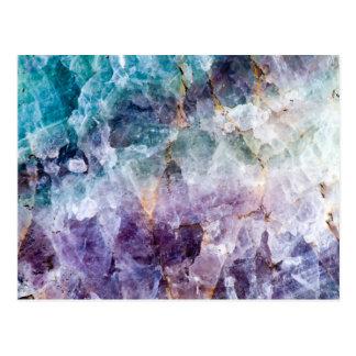 Carte Postale Turquoise et cristal de quartz pourpre