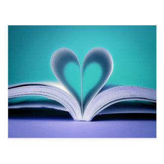 Carte Postale Turquoise et photographie pourpre de coeur de