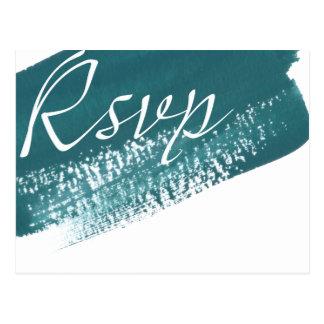 Carte postale turquoise moderne de la brosse RSVP