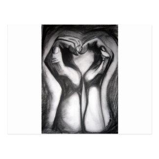 Carte Postale twohands - un coeur