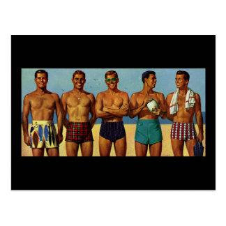Carte Postale types de plage des années 1950