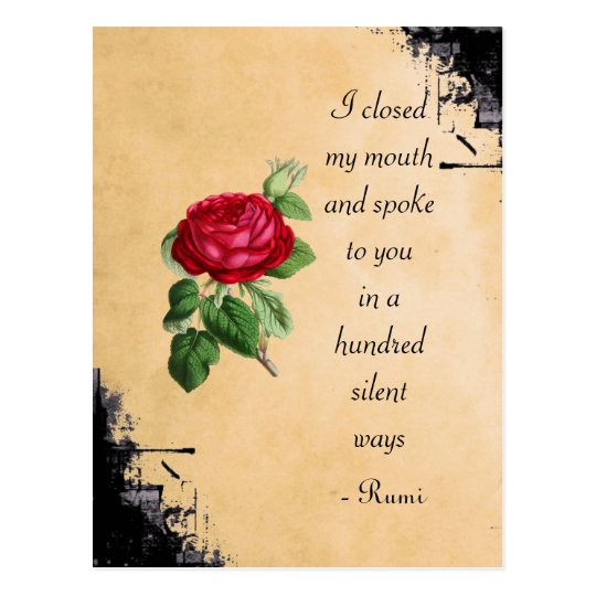Citaten Rumi Full : Carte postale typographie de citation rumi avec le rose