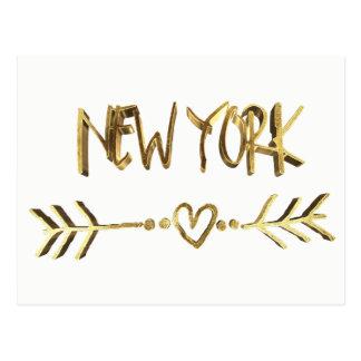 Carte Postale Typographie élégante de regard d'or des Etats-Unis