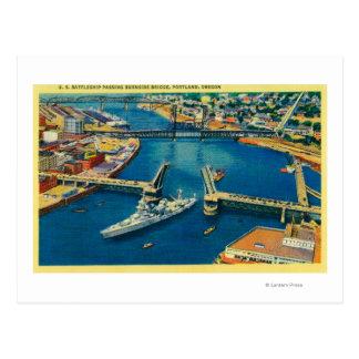 Carte Postale U.S. Cuirassé passant par Portland
