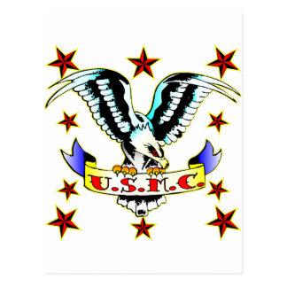 Carte Postale U.S.M.C. Tatouage 2 d'Eagle de vieille école