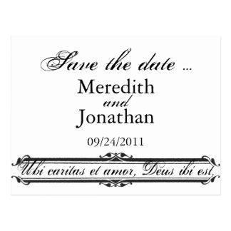 Carte Postale Ubi Caritas et mariage d'Amor sauvent le modèle de