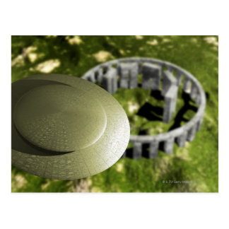 Carte Postale UFO étudiant le site de Stonehenge en tant que lui