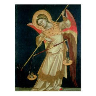 Carte Postale Un ange pesant une âme, c.1348-55