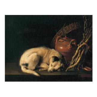 Carte Postale Un chien de sommeil avec le pot de terre cuite par