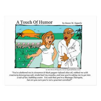 "Carte Postale ""Un contact cannibale de massage de spa d'humour"""