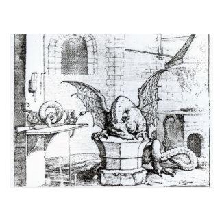 Carte Postale Un dragon dans un atelier