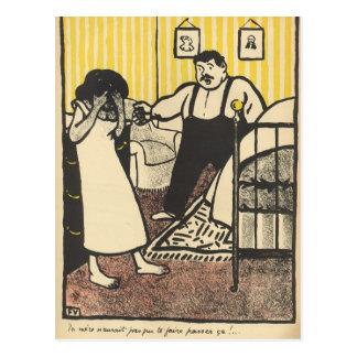 Carte Postale Un homme reproche à sa maîtresse enceinte
