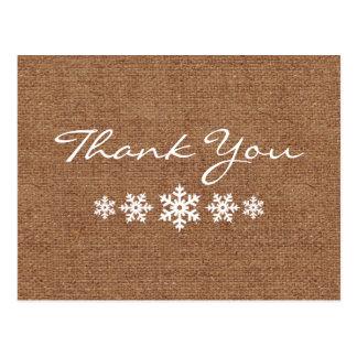 Carte Postale Un Merci hivernal de flocon de neige