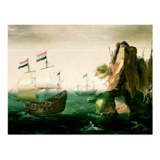 Carte Postale Un navire marchand néerlandais outre d'une côte