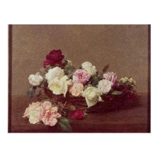 Carte Postale Un panier des roses, 1890