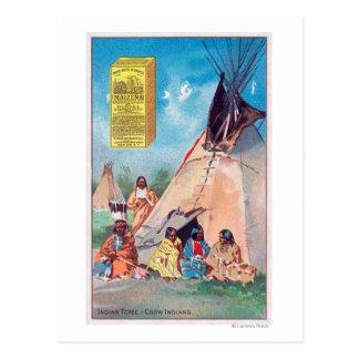 Carte Postale Un tepee indien de corneille, annonce de produit