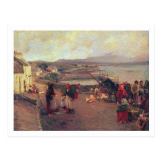 Carte Postale Un village de Connemara - le chemin vers le port,