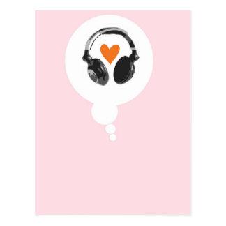 Carte Postale Une bulle de pensée avec un coeur et des écouteurs