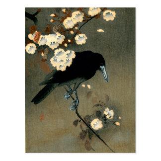 Carte Postale Une corneille et une fleur par le cru d'Ohara