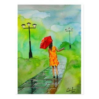 Carte Postale une fille avec un parapluie rouge par Gordon Bruce