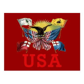 Carte Postale Une histoire des drapeaux américains sur un