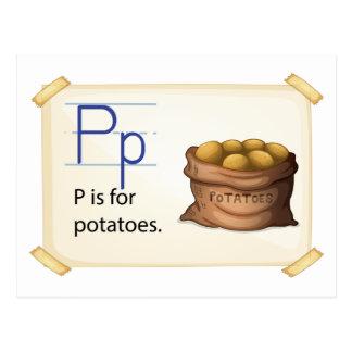 Carte Postale Une lettre P pour des pommes de terre