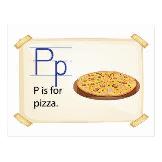 Carte Postale Une lettre P pour la pizza