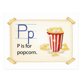 Carte Postale Une lettre P pour le maïs éclaté