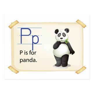 Carte Postale Une lettre P pour le panda