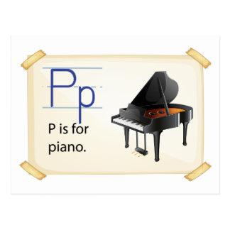 Carte Postale Une lettre P pour le piano