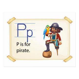 Carte Postale Une lettre P pour le pirate