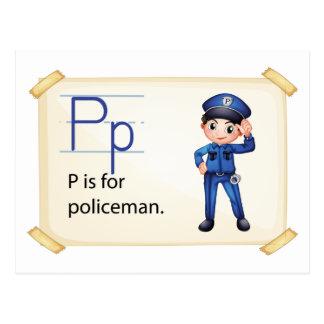 Carte Postale Une lettre P pour le policier