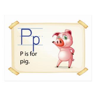 Carte Postale Une lettre P pour le porc