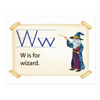 Carte Postale Une lettre W pour le magicien