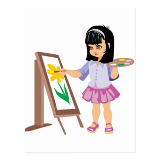 Carte Postale Une petite fille avec une palette de peinture