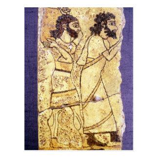 Carte Postale Une plaque dépeignant la marche de deux hommes